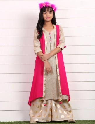 Beige pink raw silk festive wear salwar suit