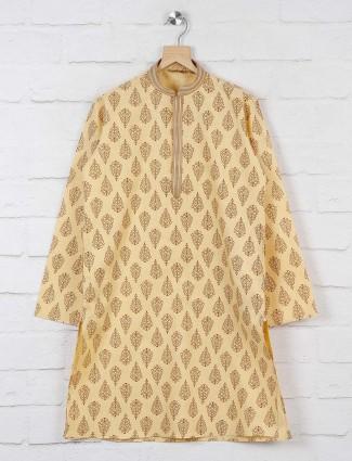 Beige printed cotton fabric kurta suit