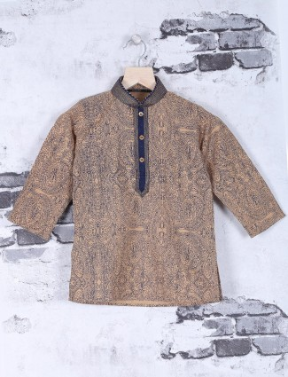 Beige printed cotton festive wear kurta suit