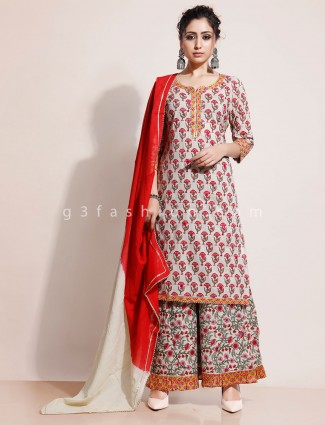 Beige printed cotton kurti and palazzo for festival