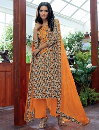 Beige printed cotton punjabi festive wear readymade salwar suit
