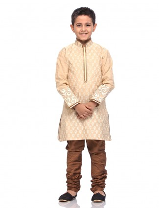 Beige printed cotton silk kurta suit