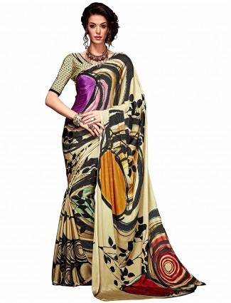 Beige printed crepe casual wear saree