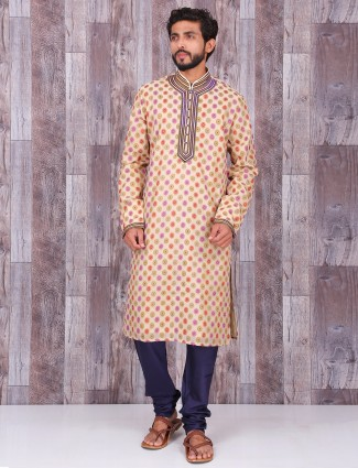 Beige printed dressy cotton silk kurta suit