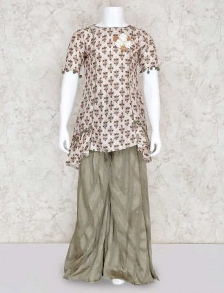 Beige printed palazzo set in cotton