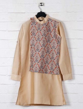 Beige printed raw silk kurta suit