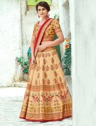 Beige printed semi stitched silk lehenga choli design