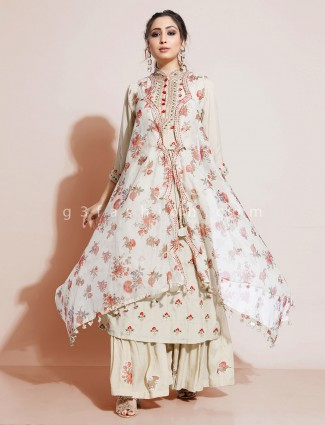 Beige printed sharara suit with palazzo in georgette