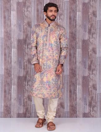 Beige printed silk kurta suit