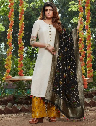 Beige raw silk palazzo suit for festivals
