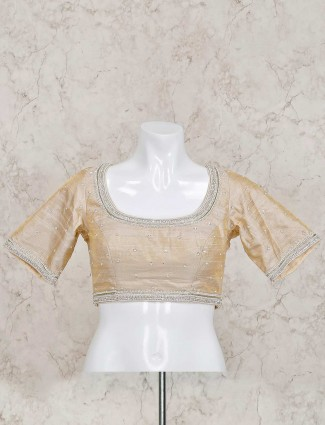 Beige raw silk ready made beautiful blouse