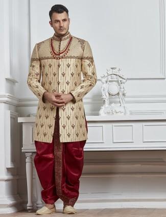 Beige raw silk wedding indo western for mens