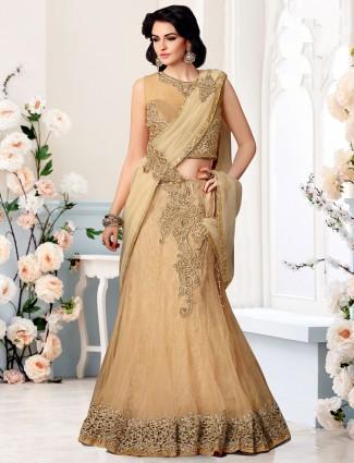 Beige ready to wear net wedding wear one minute lehenga saree
