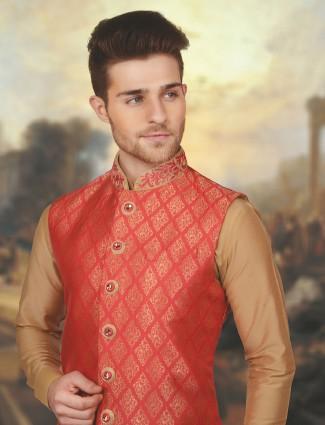 Beige red color silk waistcoat set