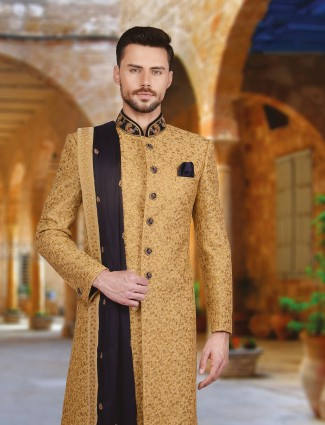 Beige royal wedding wear silk sherwani