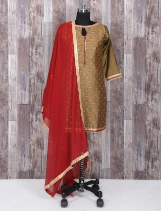 Beige salwar suit in silk fabric