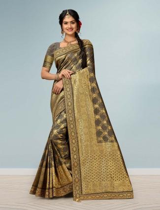 Beige saree in banarasi silk