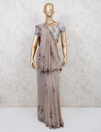 Beige saree in georgette with readymade blouse