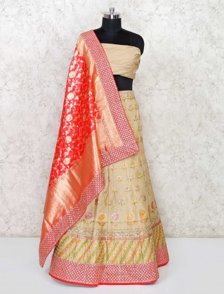 Beige semi stitched banarasi silk lehenga