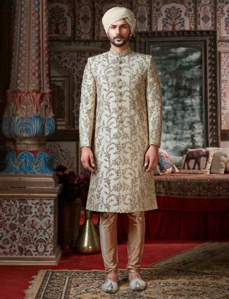 Beige sherwani set in new designs