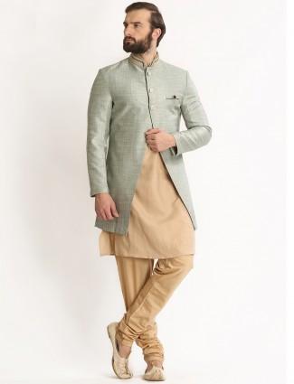 Beige silk dressy wedding wear indo western