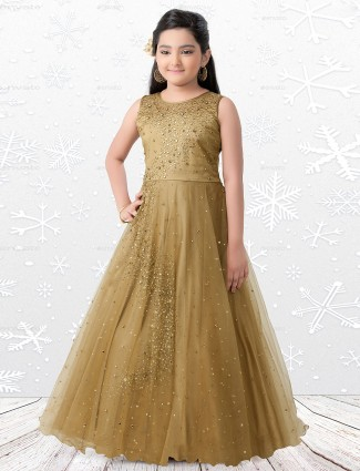 Beige silk fabric anarkali gown