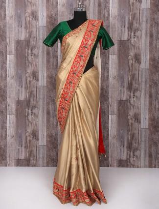 Gold silk fabric party wear saree