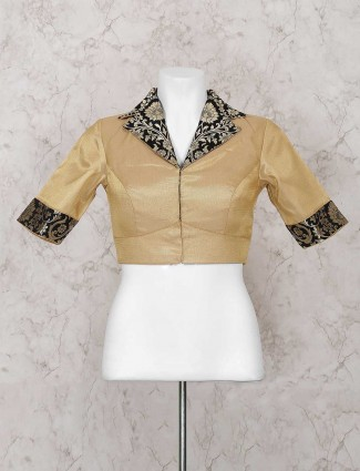 Beige silk fabric ready made blouse