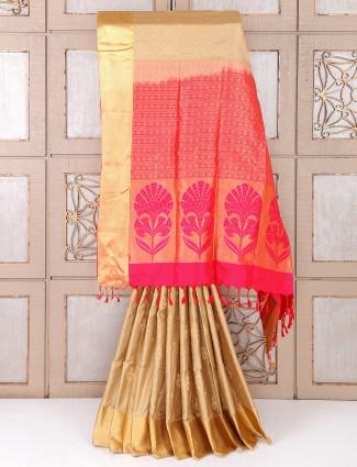 Beige silk fabric saree