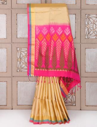 Beige silk festive saree
