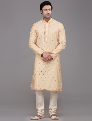 Peach silk mirror work style kurta suit