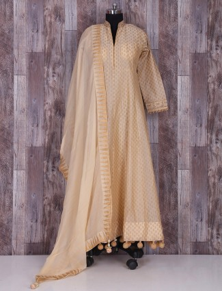 Beige silk long awsome anarkali suit