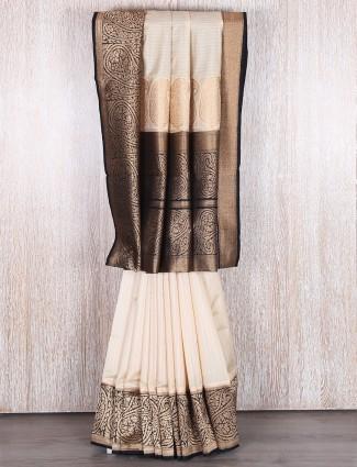 Beige silk muga silk saree