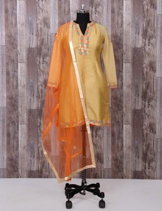 Beige silk palazzo pakistani suit