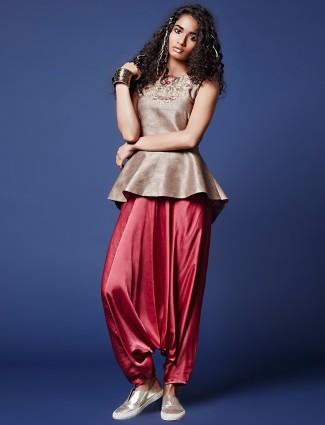 Beige silk peplum  style salwar suit