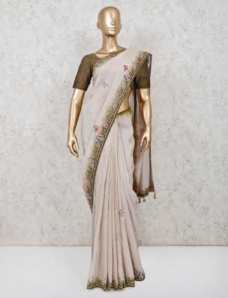 Beige silk saree for wedding function in silk