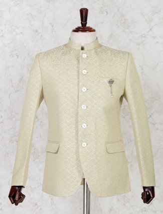Beige silk solid party jodhpuri blazer