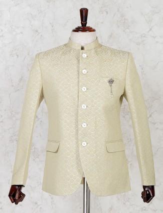 Beige silk solid party jodhpuri blazer