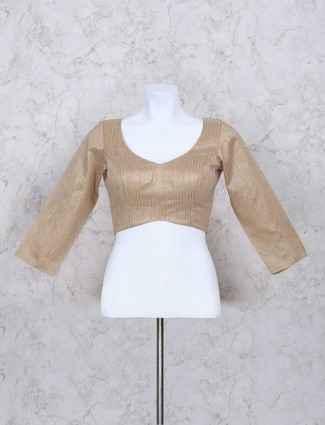 Beige silk stripe pattern ready made blouse