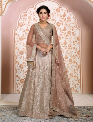 Beige silk wedding lehenga choli
