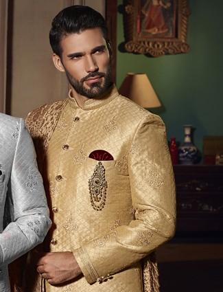 Beige silk wedding wear attractive indo western