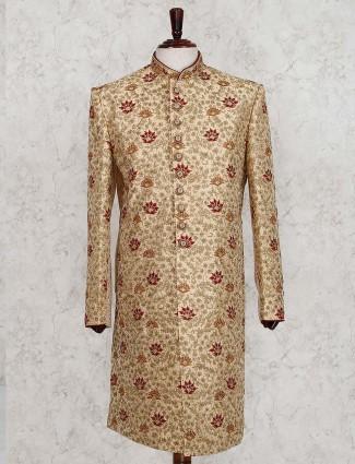 Beige silk wedding wear designer sherwani