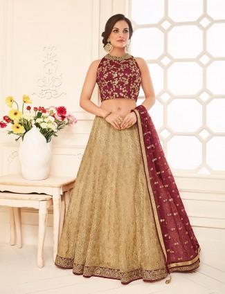 Beige silk wedding wear dressy lehenga choli