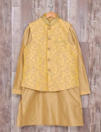 Beige silk wedding wear dressy waistcoat set