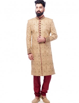 Beige silk wedding wear groom shewani
