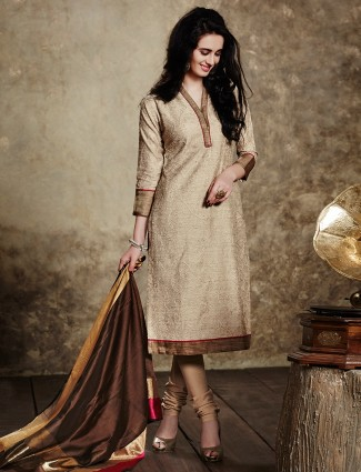 Beige silk wonderful salwar suit
