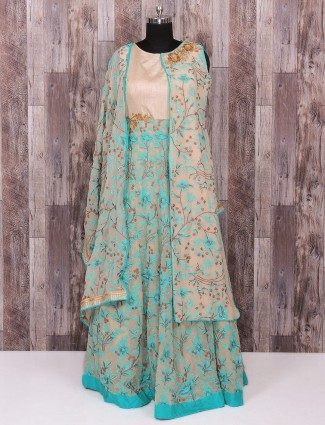 Beige sky blue party wear one piece suit