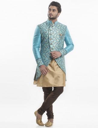 Beige sky blue silk designer indo western
