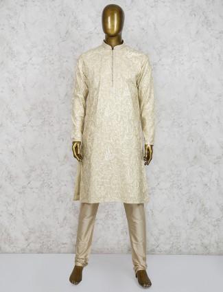 Beige sober cotton silk fabric kurta suit