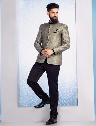Beige terry rayon wedding jodhpuri suit